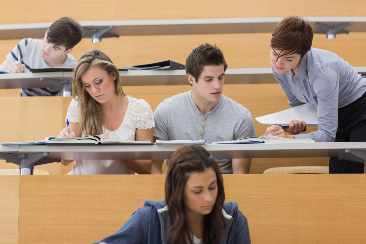 Students sitting at the lecture hall at a university